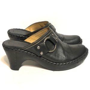 Frye Strap Harnes Leather Clogs Black Size 9